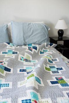 Plus Squared quilt by Emily of Quiltylove.com.  Modern plus quilt using   Lela Boutique fabrics and essex linen.  Scrappy plus quilt.