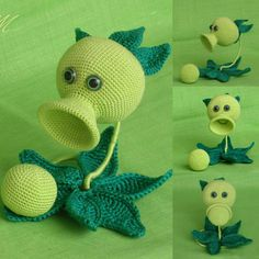 Peashooter. Plants vs. Zombies by OlchussToys FREE Pattern: http://vk.com/lavinka_art?w=wall-50975040_762