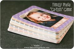 "DIY Family Photo ""Go Fish"" Game...that you can make yourself!  These are just too cute and make wonderful family gifts.  Instructions included."