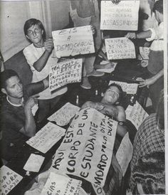March 28, 1968: Edson Luís de Lima Souto, eighteen, is killed by a point-blank shot to the chest by a military policeman in Brazil after protesting against the high prices at a restaurant in Rio de Janeiro. The next day, students across the country protest with marches of mourning and solidarity.