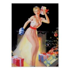 "Gil Elvgren- ""Christmas Eve Waiting for Santa"" Vintage Pin Up Girl Illustration Pin Up Vintage, Vintage Holiday, Retro Vintage, Vintage Beauty, Vintage Ephemera, Vintage Images, Vintage Style, Vintage Ladies, Gil Elvgren"