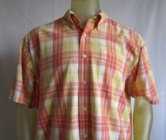 L L Bean Mens Orange Yellow Check Shirt Short Sleeve100% Cotton  Size XL #LLBean #ButtonFront