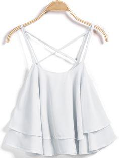 White Criss Cross Ruffle Vest 11.83  http://www.sheinside.com/White-Criss-Cross-Ruffle-Vest-p-195643-cat-1779.html?aff_id=2416