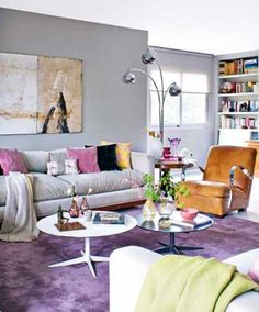 purple floor carpet, living room furnishings #coloroftheyear #radiantorchid