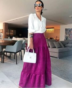Mode Outfits, Chic Outfits, Spring Outfits, Fashion Outfits, Fashion Tips, Fashion Hacks, Cool Winter, Color Combinations For Clothes, Long Skirt Outfits
