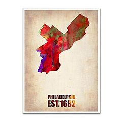 "Trademark Fine Art 'Philadelphia Watercolor Map' 18"" x 24"" Canvas Art"