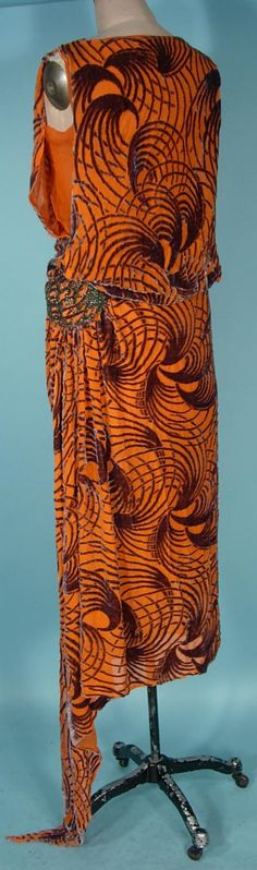 c. 1920's Orange with Gray Cut Velvet Flapper Dress