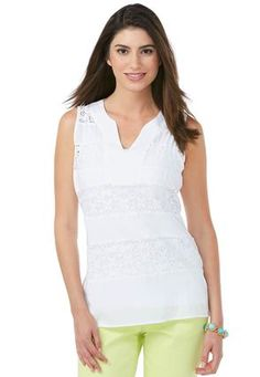 bd534fa701f432 Cato Fashions Lace Panel High-Low Sleeveless Top-Plus  CatoFashions High  Low Top