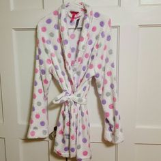 """Hot Kiss Robe NWT. Soft White Robe with purple and pink polka dots. Tie front. 2 front pockets. Long sleeves. 100% poly.  35"""" length Hot Kiss Intimates & Sleepwear Robes"""