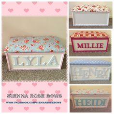Personalised toy box by SiennaRoseBows on Etsy