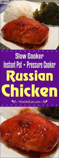 Pressure Cooker Russian Chicken is a sweet and tangy, juicy chicken dish that is ready in less than 30 minutes.  It is a great freezer meal. via @thisoldgalcooks
