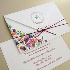 Envelope convite de casamento ilustrado em aquarela - Papel & Estilo