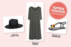 Editor's Choice  Hier haben Sie unseren Günstig-Look des Tages schwarz auf weiß: Das Ringel-Dress tragen Sie am besten mit einem schwarzen Strohhut und Sommersandalen mit Bommel-Deko
