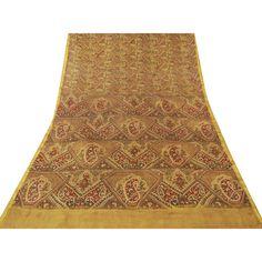 Vintage Indian Saree Pure Silk Printed Fabric Décor Craft Floral Yellow Sari 5YD