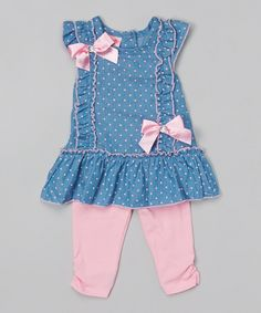 Loving this Nannette Girl Blue Dot Ruffle Tunic & Pink Leggings - Infant on #zulily! #zulilyfinds