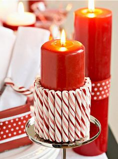 Candy Cane Christmas Candles ~ Especially nice with white candle and red ribbon. Candy Cane Christmas, Noel Christmas, Christmas Candles, Winter Christmas, Christmas Crafts, Elegant Christmas, Christmas Ideas, Whimsical Christmas, Nordic Christmas