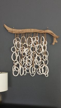 by Ghost wood and ceramic bisque ware macrame wall hanging Ceramic Bisque, Ceramic Art, Diy Arts And Crafts, Clay Crafts, Mobiles, Free To Use Images, Organic Art, Stone Crafts, Boho Diy