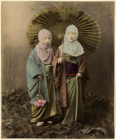 Two young girls in winter clothes, ca. 1880