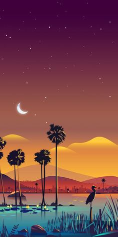 Sükut-u Lisan Selameti İnsan Desert Night Oasis with Palm Trees - Vector Art Wallpaper Scenery Wallpaper, Landscape Wallpaper, Nature Wallpaper, Wallpaper Backgrounds, Wallpaper Art, Galaxy Wallpaper, Lock Screen Backgrounds, Phone Backgrounds, Mobile Wallpaper