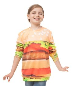 Look at this Yellow Hamburger Sublimation Sweatshirt - Toddler & Kids on #zulily today!
