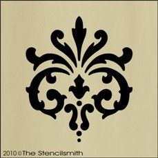 """#1089 STENCIL Fleur De Lis damask wall chic decorative-Painting my drafting desk/kitchen island glossy black with an interior 1"""" ivory stripe and this damask in the center in ivory.  Base will be stained a natural satin walnut to showcase the black iron hardware."""
