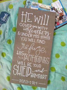 custom word art - psalm 91:4 - laurenish design - $40 - 12x24 linen canvas