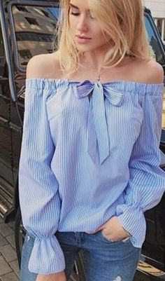 Autumn Women's Striped Double-Wearing Way Blouse For Woman Long Sleeve Tops Female Sexy Slash Neck Woman Off Shoulder TopsThis blouse is perfect for you. With off shoulder details and long sleeves, this blouse features self tie design that gives it a Diy Fashion, Ideias Fashion, Fashion Outfits, Umgestaltete Shirts, Shirt Refashion, Diy Clothing, Off Shoulder Blouse, Shoulder Tops, Blouses For Women