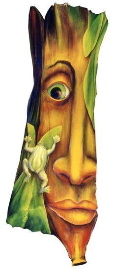 Frog Lady acrylic on palmfrond
