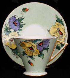 Shelley Bone China Eve Shape Cup & Saucer Hand Painted Floral Pattern