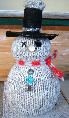 Handmade Upcycled Sweater OOAK Snowman by FreshPickedCharm on Etsy, $18.00
