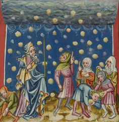 The Israelites Collecting Manna from Heaven (detail) , from World Chronicle, Regensburg, unknown artist, about 1400-1410. The J. Paul Getty Museum
