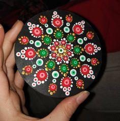 Items similar to decor and mandala dot art dotilism acrylic paint special mountain gift on Etsy Dot Art Painting, Mandala Painting, Mandala Art, Stone Painting, Mandala Painted Rocks, Mandala Rocks, Rock Crafts, Arts And Crafts, Christmas Mandala
