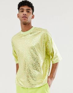 faaae8e99a2cd DESIGN oversized cropped t-shirt in neon green with all over gold foil  leopard print