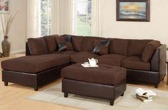 Chocolate Microfiber Modern Sectional Sofa w/Ottoman