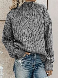Women's Solid Colored Pullover Long Sleeve Loose Sweater Cardigans Turtleneck Fall Winter White Black Purple 2020 - US $17.99 Plus Size Sweaters, Casual Sweaters, Pullover Sweaters, Sweaters For Women, Women's Sweaters, Oversized Sweaters, Winter Sweaters, Vintage Sweaters, Cheap Sweaters