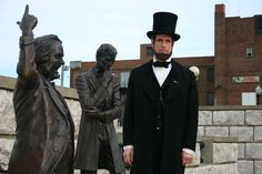The final debate of Stephan A. Douglas and Abraham Lincoln took place in front of Alton's city hall at the corner of Broadway and Market Streets. The senatorial debate drew national attention along with more that 6,000 visitors. Life-like statues of the two statesmen keep the famous series of debates in 1858 frozen forever in time.