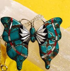Native American Butterfly Sterling Silver Pendant Inlaid Turquoise and more