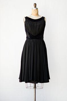 vintage 1960s black chiffon velvet party dress from Adorned Vintage