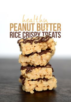 Healthy Peanut Butter Rice Crispy Treats- made with brown rice crisps, coconut oil, peanut butter, brown rice syrup, and dairy-free chocolate chips!