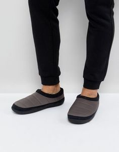 ASOS Slip On Slippers In Grey Nylon