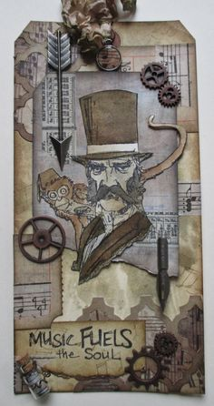 Saturday Step X Step - Hey Mr Music man - a combination of Brett Weldele  and Tim Holtz products; Mar 2014