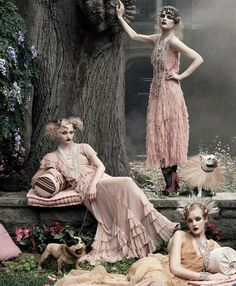 sasha pivovarova, guinevere van seenus and caroline trentini shot by steven meisel for american vogue