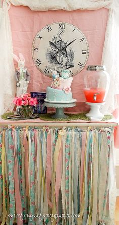 An affordable vintage, shabby chic Mad Hatter tea party to celebrate a little girl turning 4.