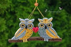 Paper Quilling Owls on a branch Together by NavankaCreations