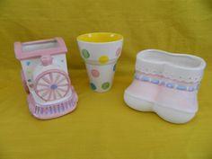 Baby Bootie Floral Vases Planter, Train Candy Holder Nursery Florist supplies LN #CMCandCentury #BabyBootie