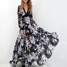 Chiffon Floral, Floral Print Maxi Dress, Chiffon Maxi Dress, Maxi Dress With Sleeves, Print Chiffon, White Chiffon, Lace Maxi, Sleeve Dresses, Floral Lace