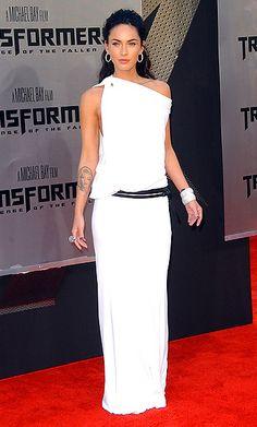 Modern toga neckline worn by Megan Fox