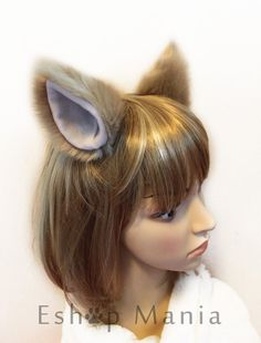 KHAKI DOG ears hair clip / CAT ears hair clip , White Lining , 10 cm tall , for Cosplay Costume Party Halloween Animal Costumes, Cat Costumes, Cosplay Costumes, Dog Ears Headband, Ear Headbands, Dog Ears Costume, Kitten Play Gear, Hair Fixing, Human Doll