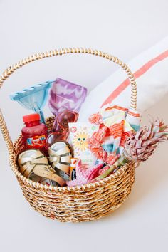 Modern easter baskets or gift basket for anytime cozy food gifts the shift creative is giving us three unique ways to style an easter basket they include a basket for the budding artist as well as the lover of the beach negle Images
