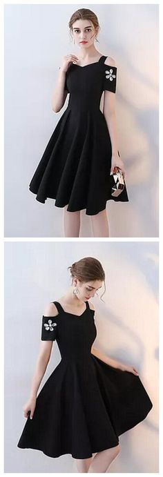 Simple Black Straps Beaded Short Prom Dress with Sleeves,A-Line Short Party Dress P1227 #homecomingdress #homecomingdresses
